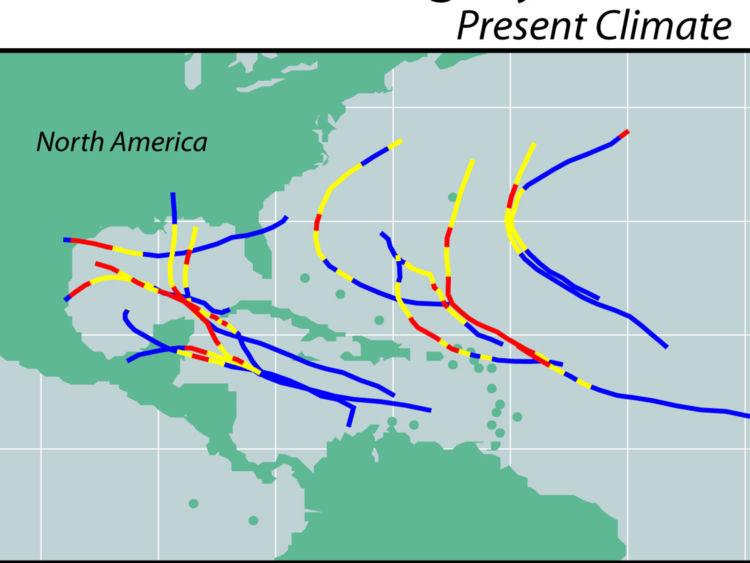C'est ce que ressemblera le chemin de ces orages plus puissants, par rapport à aujourd'hui.