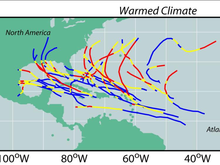 C'est ce que ressemblera le chemin de ces orages plus puissants, par rapport à aujourd'hui. Pic: GDFL