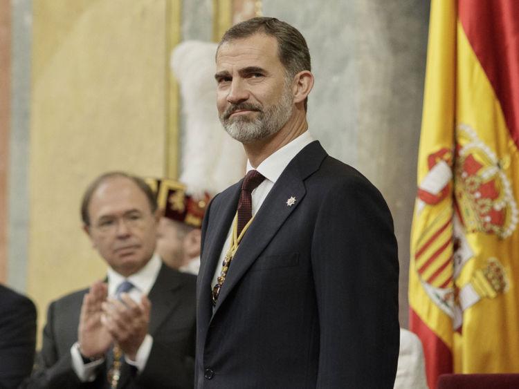 Le roi Felipe VI d'Espagne assiste à l'ouverture solennelle de la douzième législature au Parlement espagnol