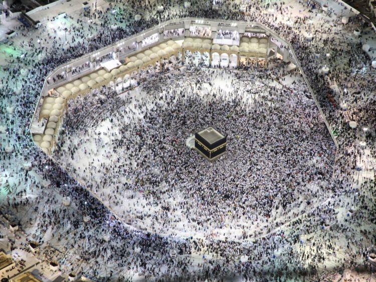 Pèlerins pendant le pèlerinage annuel du Hajj à l'Islam à la Grande Mosquée de la Mecque en Arabie Saoudite