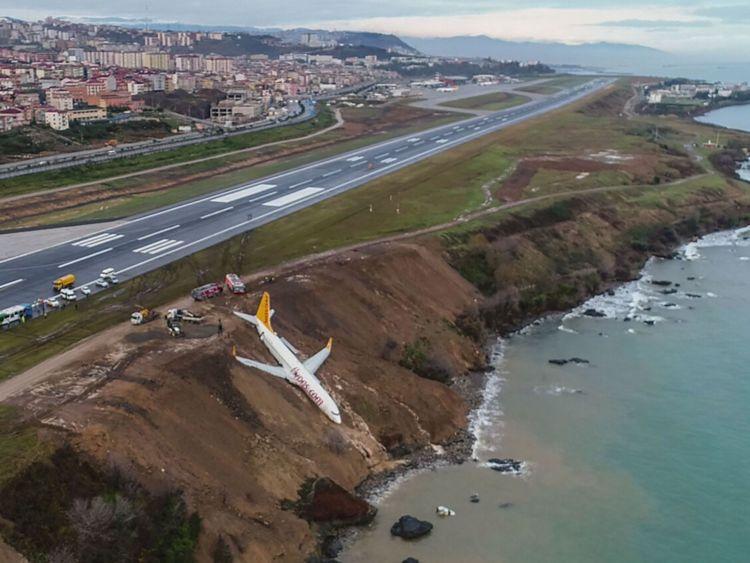 Un avion de ligne Boeing 737 de Pegasus Airlines est vu dans la boue après avoir dérapé sur la piste d'atterrissage à l'aéroport de Trabzon sur la mer Noire Personne n'a été tué dans l'incident </span><br />       </figcaption></figure> </div> <p> Les témoins <strong> ont dit que c'était un miracle </strong> qu'il n'y avait pas eu de victimes, après quoi les 162 passagers et membres de l'équipage ont été évacués en toute sécurité. </p> <p> Les ingénieurs soient Des efforts ont été déployés pour dégager l'avion en attachant des câbles autour des ailes et de la queue dans un berceau et deux grues ont été utilisées pour tirer l'avion du rivage </p> <p>. </p> <p> Les autorités ont envoyé les grues d'Ankara et de Samsun et ont fermé l'aéroport, à Trabzon au nord-est de la Turquie, à tout le trafic aérien, détournant des vols vers l'aéroport d'Ordu-Giresun à proximité </p> <div class=