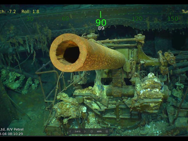 Cette photo de photographie obtenue le 5 mars 2018 avec l'aimable autorisation de Paul G. Allen montre des débris de l'USS The Sullivans. l'USS Lexington, un porte-avions américain qui a coulé pendant la Seconde Guerre mondiale, qui a été trouvé dans la mer de Corail. Pic: Douglas Curran