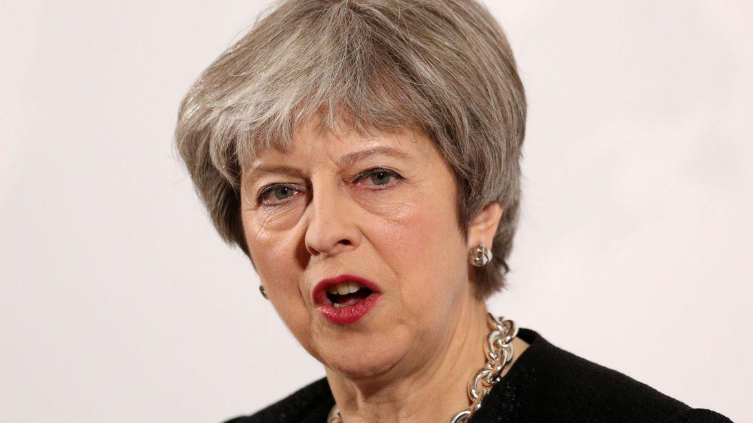 Le Premier ministre britannique Theresa May prononce un discours sur sa vision du Brexit, à Mansion House ...