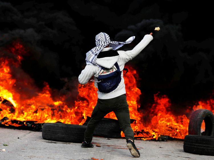 . Un manifestant palestinien à Ramallah