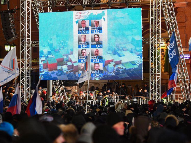Les foules se rassembleront à Moscou comme un écran montre les résultats préliminaires de l'élection russe