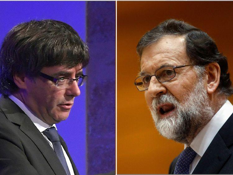 Le Premier ministre espagnol Mariano Rajoy (R) a déclaré que M. Puigdemont avait généré de grandes incertitudes