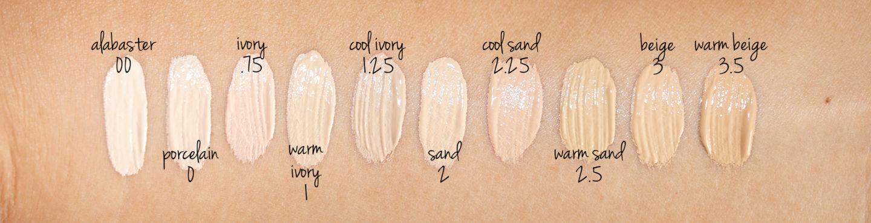Bobbi Brown Skin Long- Nuancier de fond de teint en albâtre, porcelaine, ivoire, ivoire chaud, ivoire froid, sable, sable frais, sable chaud, beige et beige chaud
