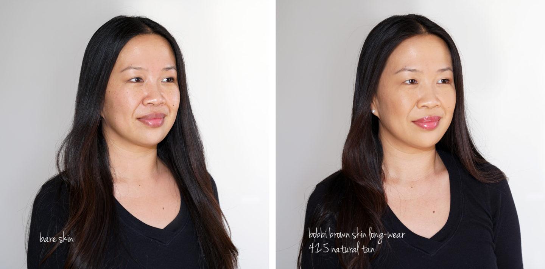 Bobbi Brown Skin Revue de la Fondation Long-Wear et Nuancier Naturel Tan 4.25 swatches
