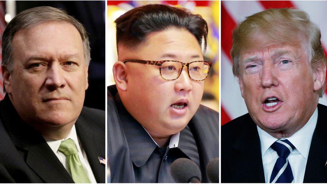 Mike Pompeo (L), directeur de la CIA, Kim Jong Un (C), chef de la Corée du Nord et Donald Trump (R)