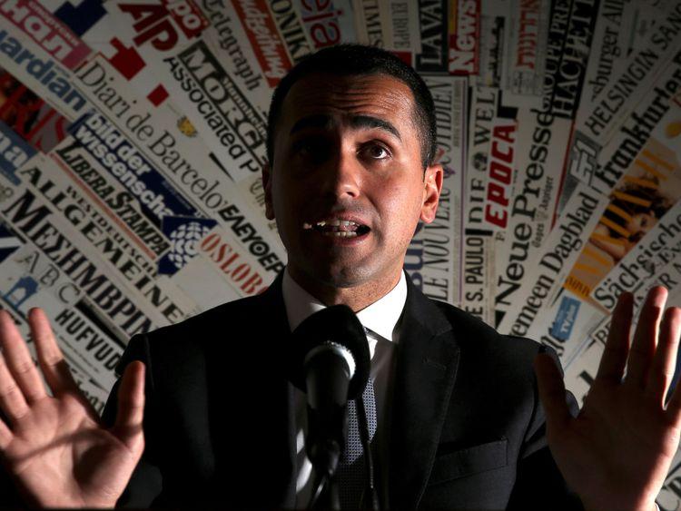 Ant Luigi Di Maio, dirigeant du Mouvement 5 étoiles, est intervenu lors d'une conférence de presse au Foreign Press Club à Rome, en Italie, le 13 mars 2018.
