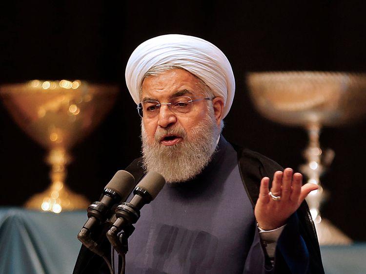 Le président iranien Hassan Rouhani prononce un discours dans la ville de Tabriz, dans la province du nord-ouest de l'Azerbaïdjan oriental, le 25 avril 2018, lors d'un événement commémorant la ville en tant que capitale du tourisme islamique en 2018. (Photo par ATTA KENARE / AFP) (Crédit photo: ATTA KENARE / AFP / Getty Images)