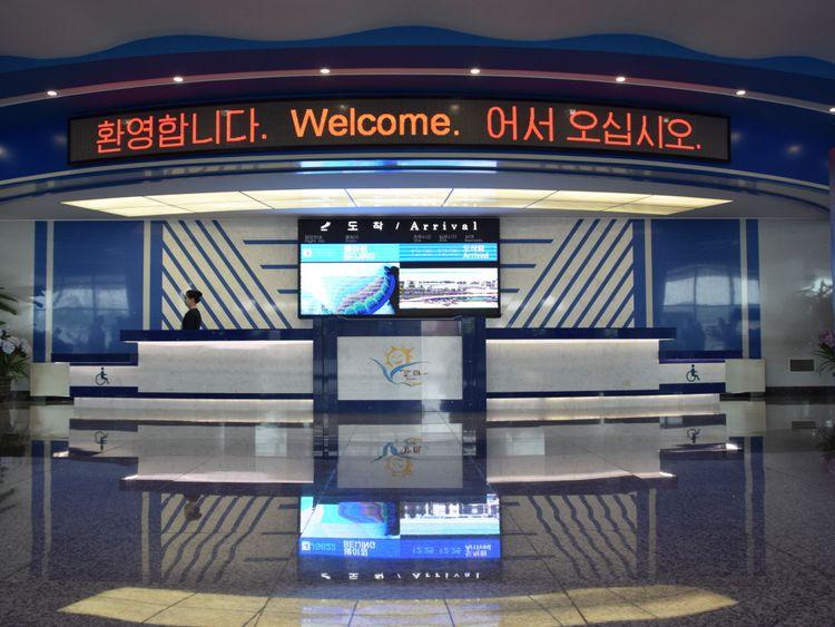 Le groupe de journalistes étaient les seuls arrivés à l'aéroport de Kalma à Wonsan. Pic: Michael Greenfield