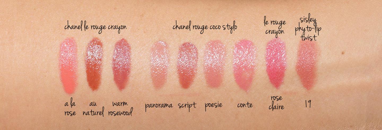 Comparaisons de Chanel Le Rouge Crayon Lip Swatches