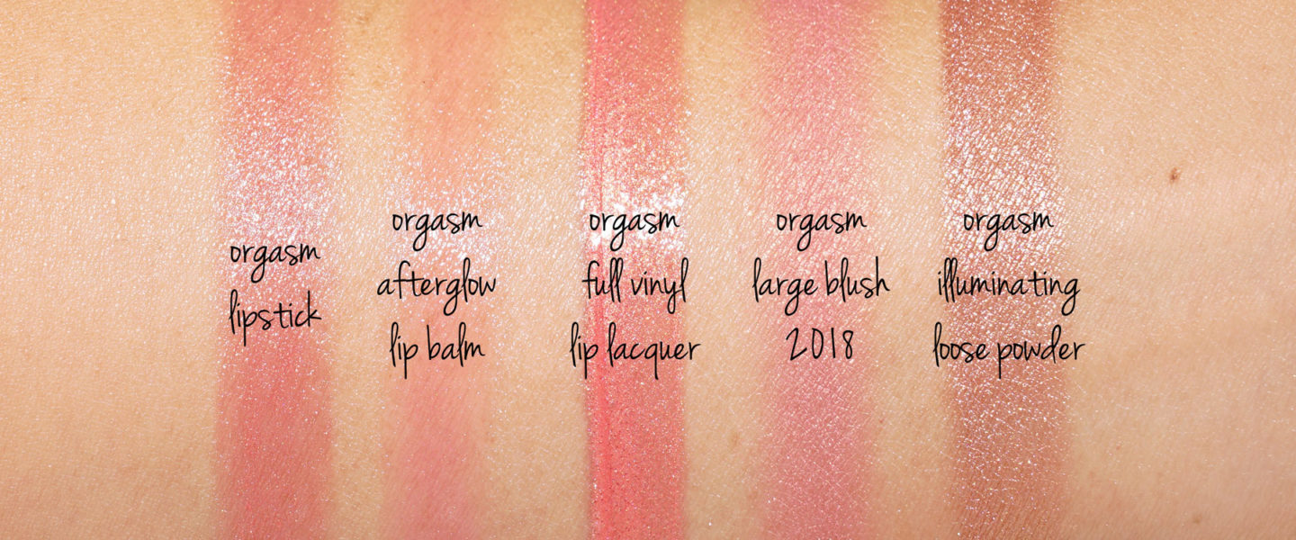 NARS orgasm swatches