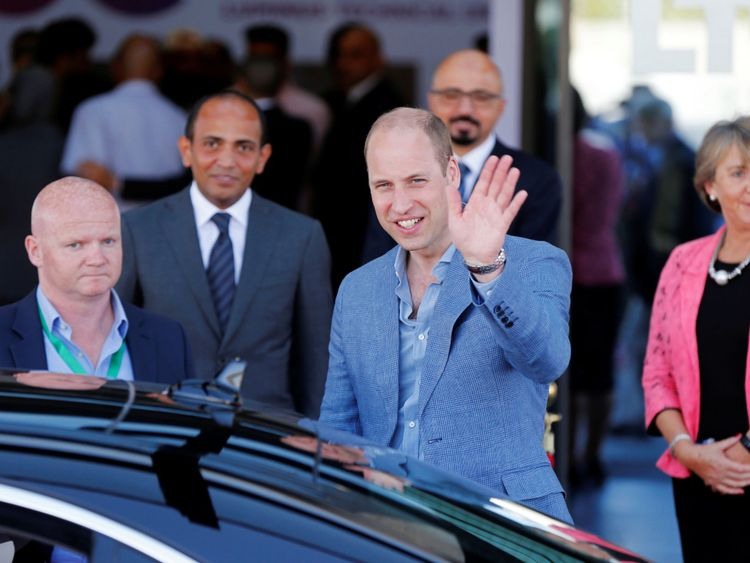Le Prince William quitte le Collège universitaire technique de Luminus à Amman, en Jordanie