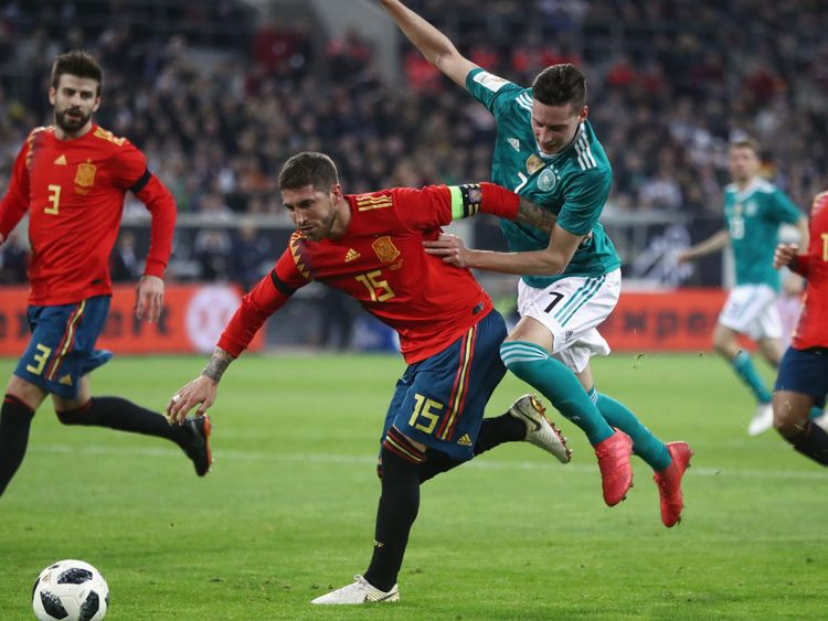 Spain captain Sergio Ramos in action in a friendly with Germany