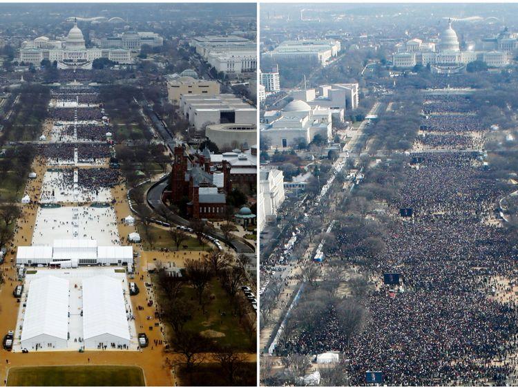National Mall le 20 janvier 2017 et le 20 janvier 2009, à Washington