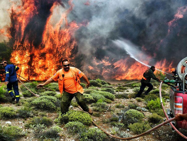 Les pompiers et les volontaires essaient d'éteindre les flammes pendant un feu de forêt dans le village de Kineta, près d'Athènes
