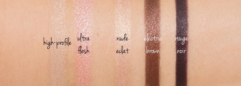 Maquillage pour les yeux Chanel Swatches High-Profile, Ultra Flesh, Nu Eclat, Brun électrique et Rouge Noir