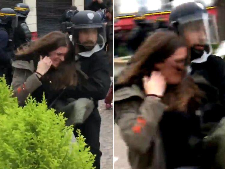 Alexandre Benalla traînant une manifestante. Pic: Taha Bouhafs