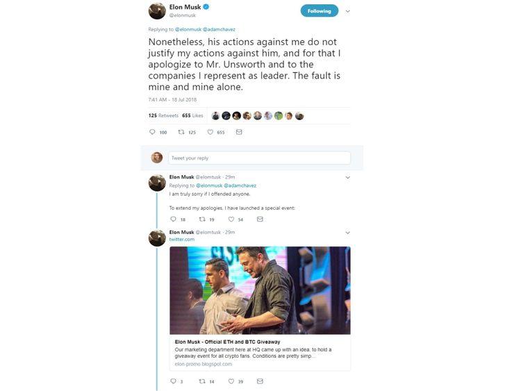 Un faux compte répond rapidement à @ElonMusk dans une arnaque de crypto-monnaie