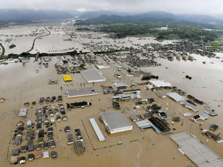 Kurashiki submergé dans le sud du Japon