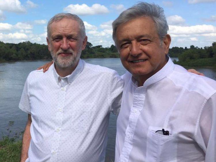 Jeremy Corbyn et Andres Manuel Lopez Obrador en 216