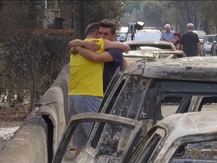 Survivants des incendies en Grèce