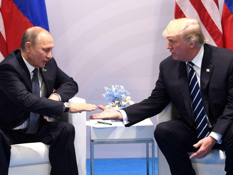 Le président Poutine et le président se rencontrent en Allemagne en juillet 2017