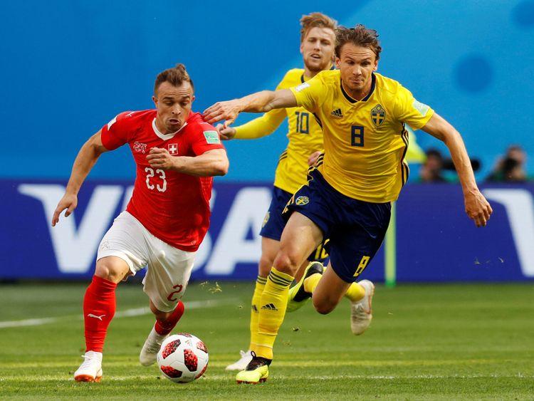 Xherdan Shaquiri a lutté pour apporter une contribution décisive à la Suède