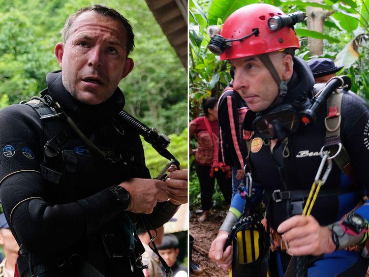 Les plongeurs britanniques John Volanthen (à gauche) et Richard Stanton en Thaïlande