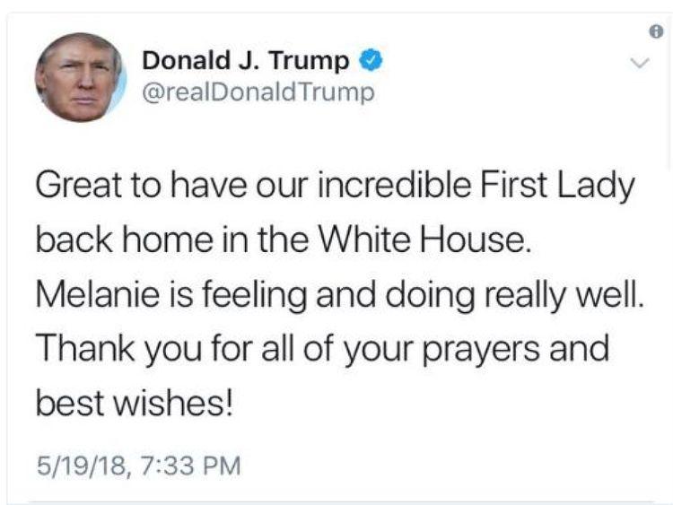 Le tweet de Donald Trump dans lequel il appelle sa femme Melanie & # 39;