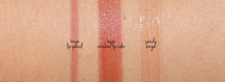 Bobbi Brown Beige Crayon À Lèvres, Bare Crushed Lip Color et Sandy Beige Lip Swatches