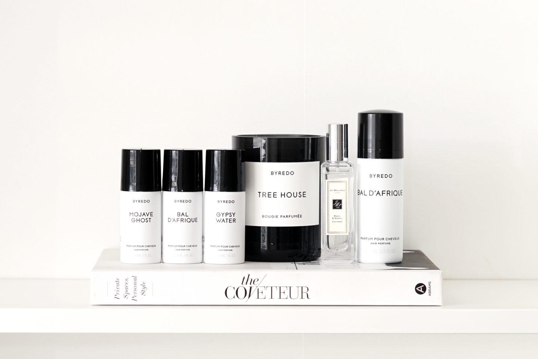 Byredo Trio de parfums de cheveux, bougie Tree House, parfum de basilic et néroli Jo Malone