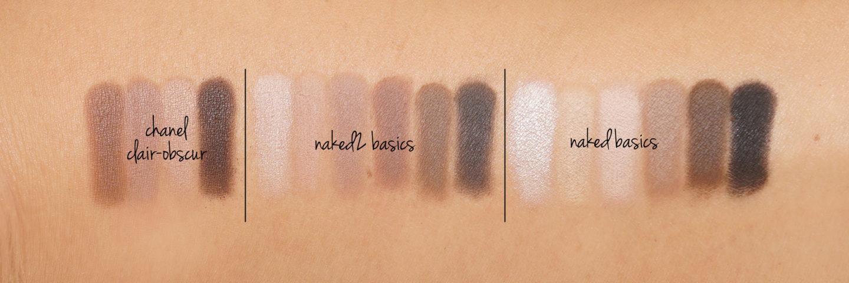 Chanel Clair Obscur vs Urban Decay Naked2 Basics et nuances Basics Nu | Le livre de beauté