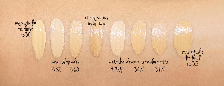 Nuancier MAC NC30, NC35 vs Beautyblender 3.5 et 3.6