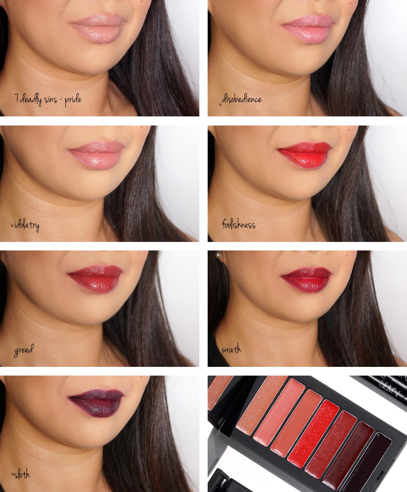 NARS 7 Deadly Sins Palette de rouge à lèvres Audacious Swatches | Le livre de beauté