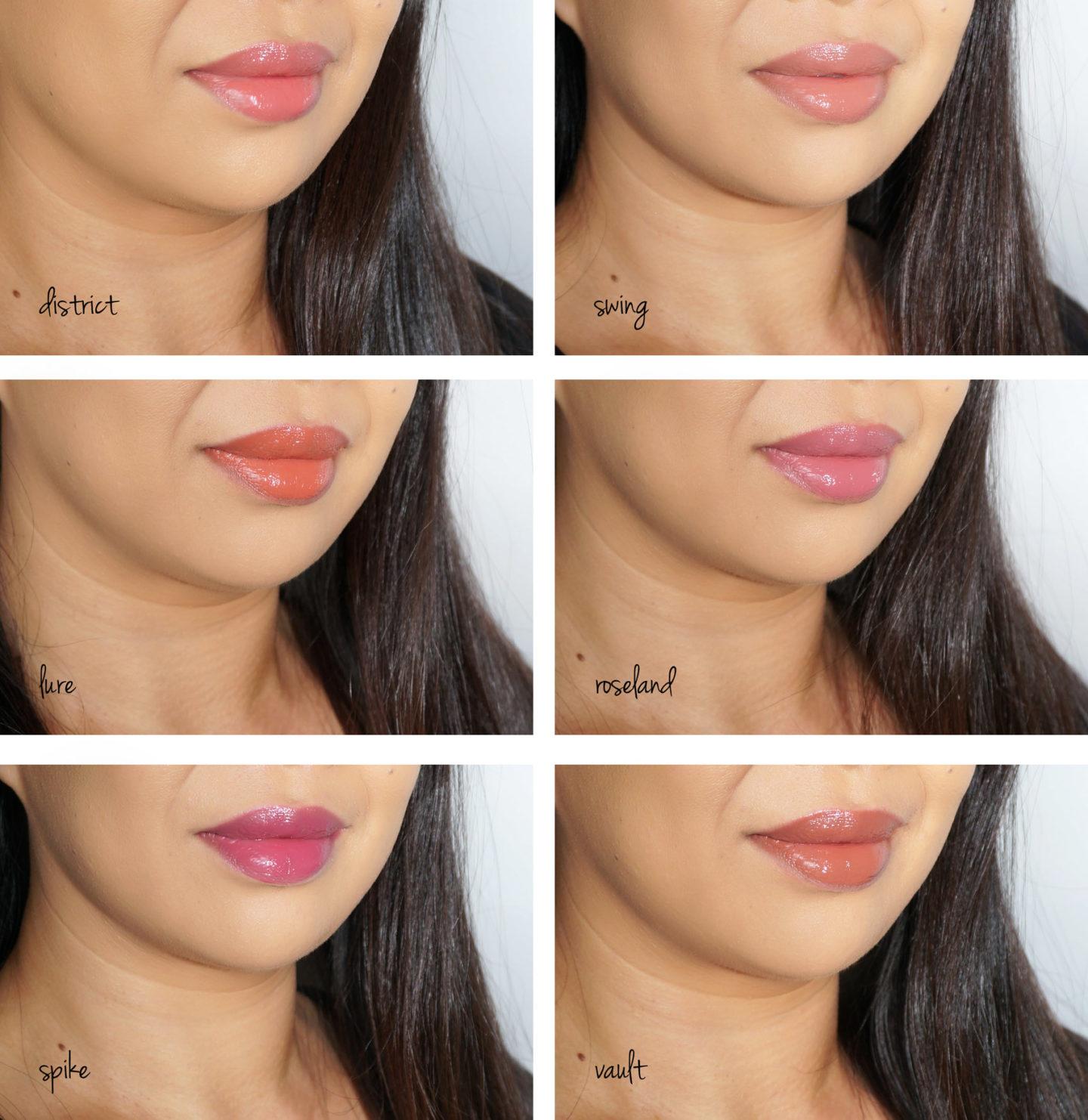 NARS Ulta Velvet Lip Glide Swatches District, Balançoire, Lure, Roseland, Spike, Vault