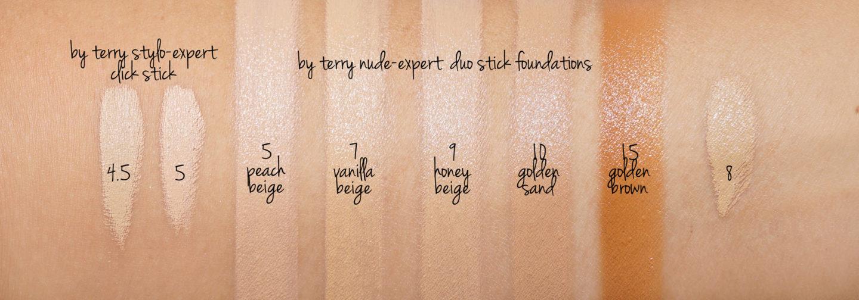 Par Terry Nude Nuancier de la Fondation Expert vs Stylo-Expert Click Sticks