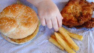 Une jeune fille mange un burger au poulet, des frites et du poulet frit.