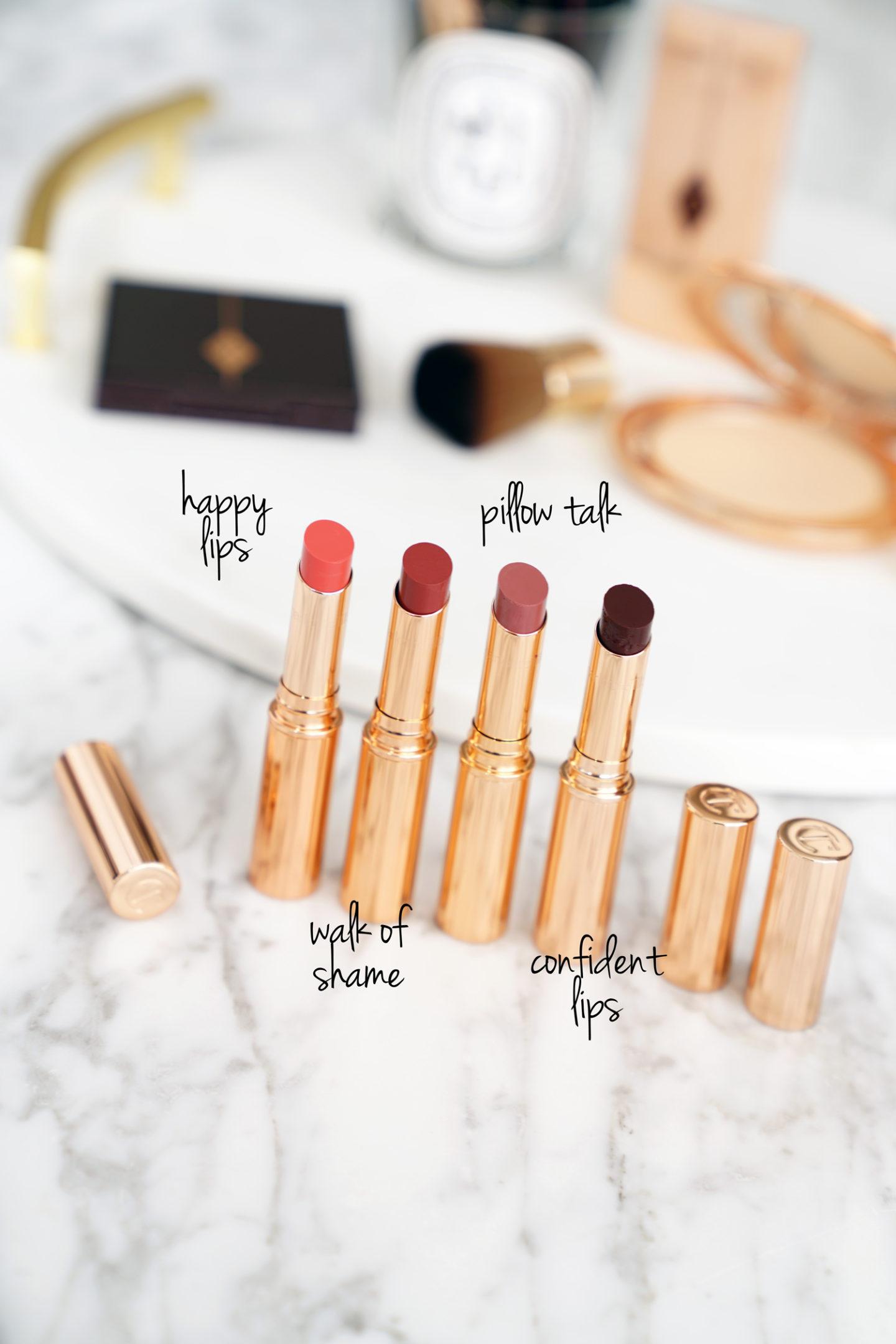 Charlotte Tilbury Superstar Lips lèvres heureuses, promenade de la honte, conversation de l'oreiller et lèvres confiant Avis