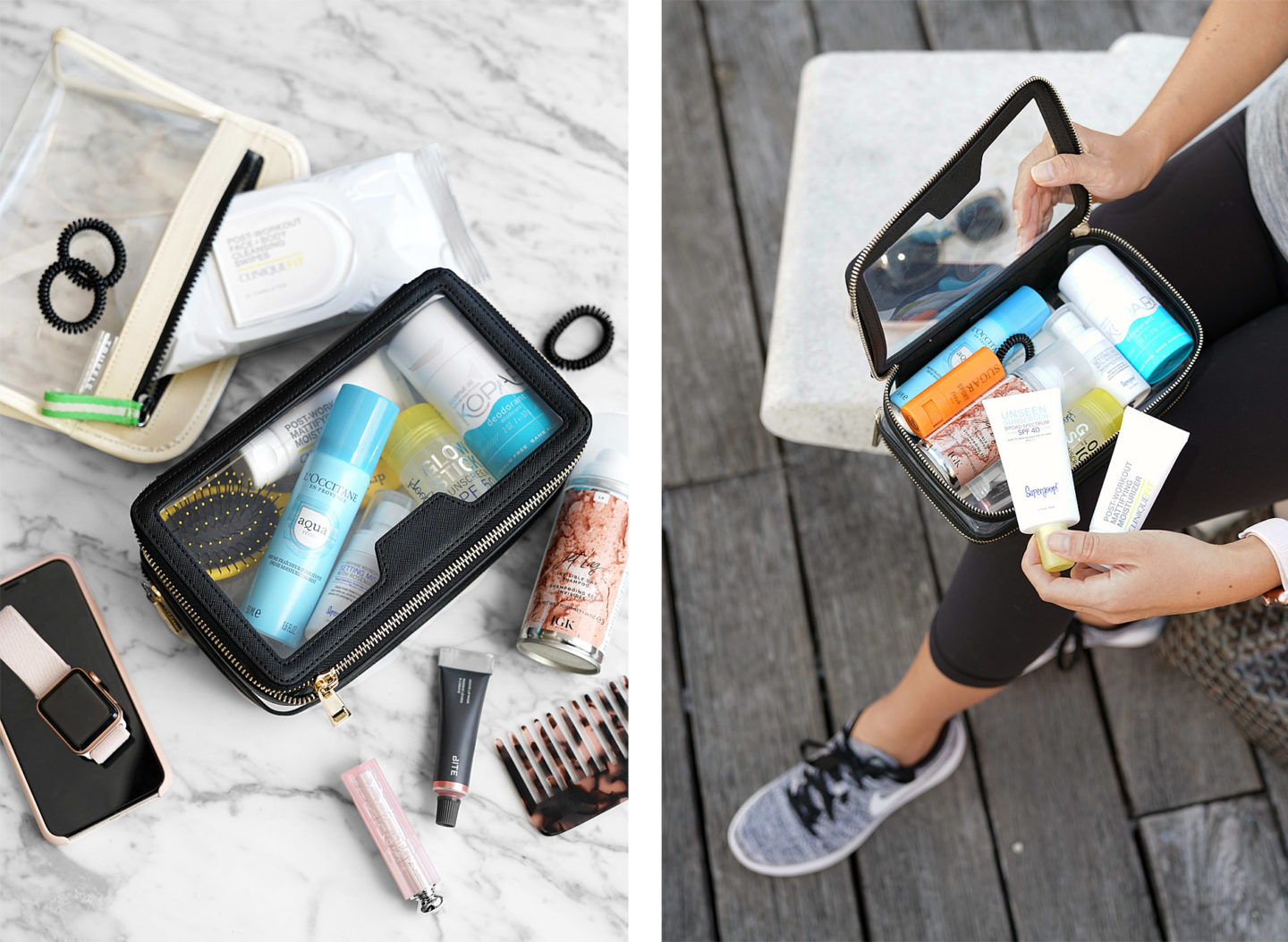 Gym Beauty Essentials dans l'affaire The Daily Edited Transparent Cosmetic