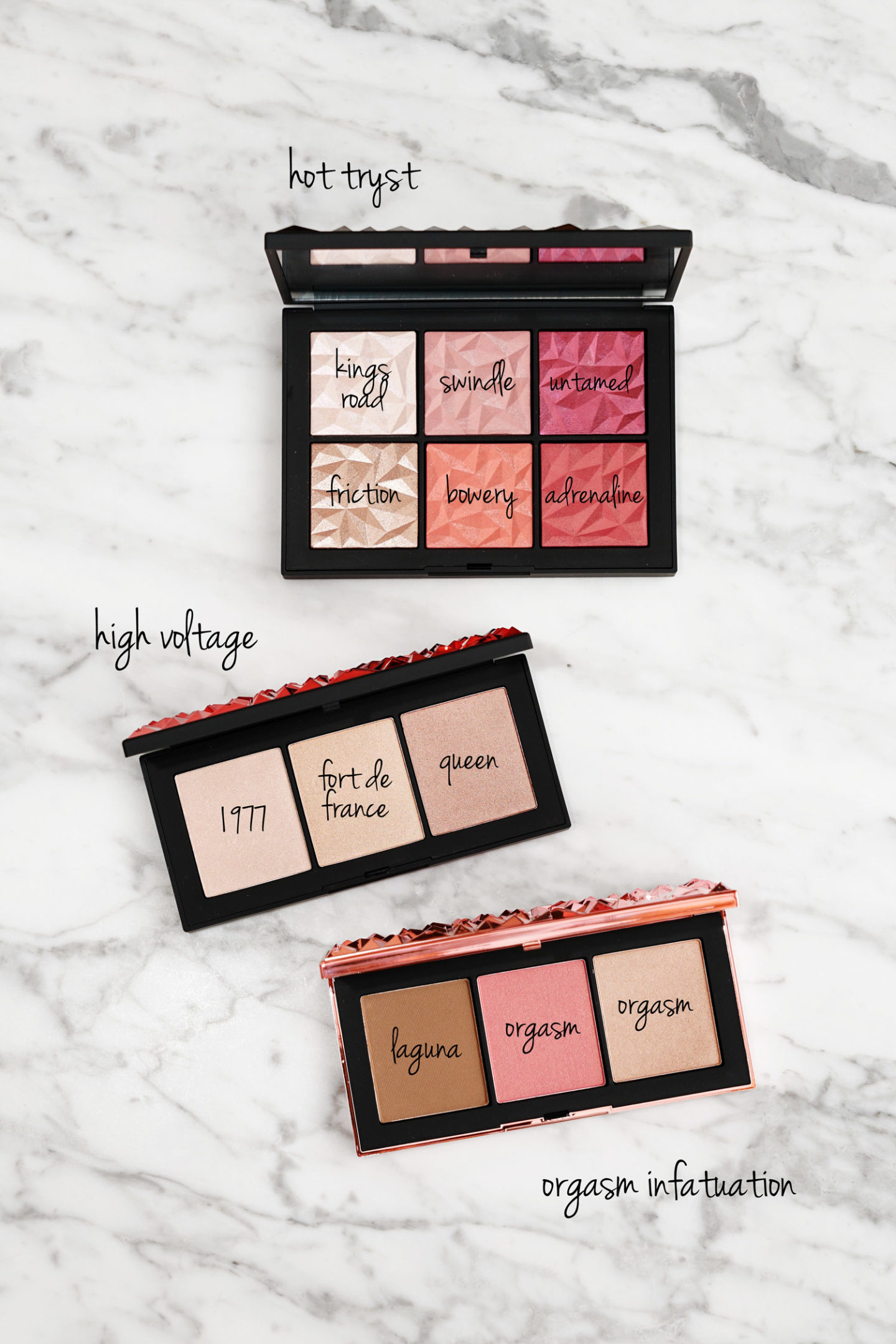 Palettes de joues NARS Holiday 2018 Tryst Hot, High Voltage et Orgasm