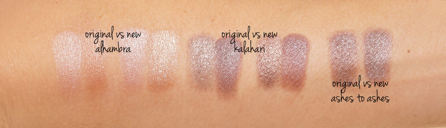 NARS Original vs New Eyeshadows Alhambra, Kalahari, Cendres en Cendres