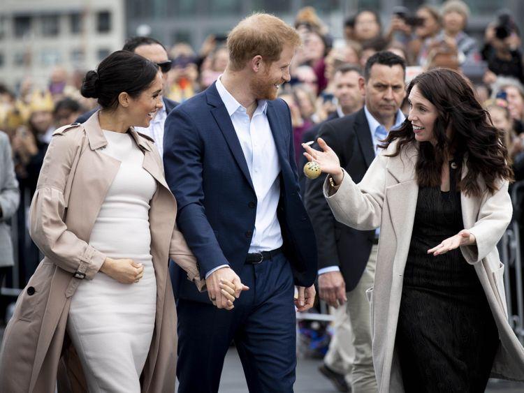Le duc et la duchesse de Sussex avec Jacinda Ardern
