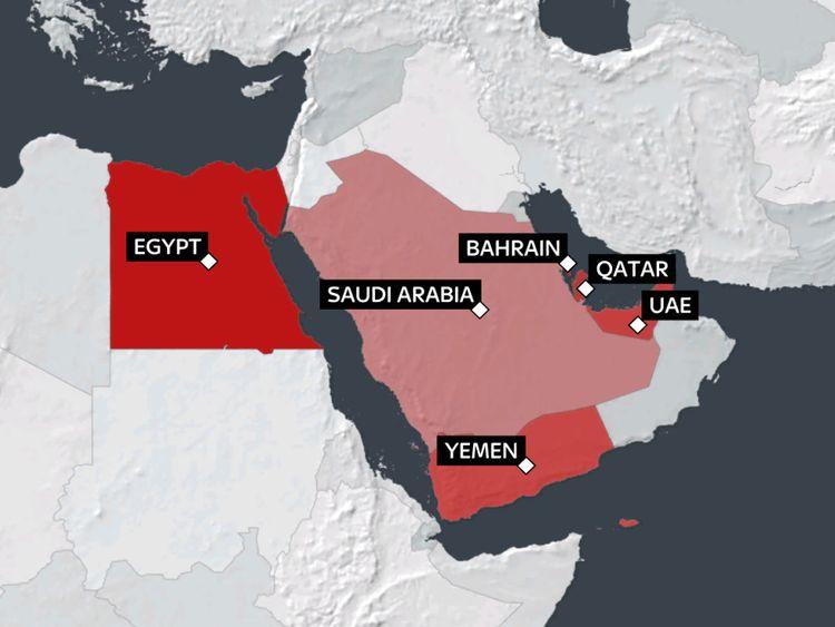 Carte des pays isolant le Qatar