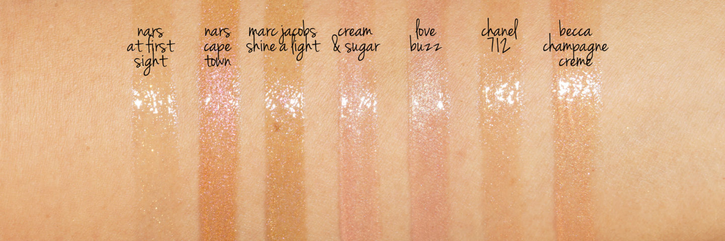 Comparaisons de Swatch Gloss Gold Gold Marc Jacobs, SNRA, Chanel, Becca
