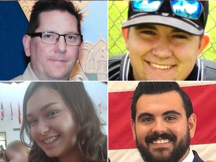 Victimes (dans le sens des aiguilles d'une montre à partir du haut à gauche): sergent Ron Helus, Cody Coffman, Justin Meek et Alaina Housley