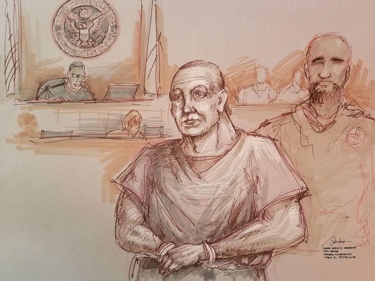 Sayoc dans le dessin d'un artiste lors de sa comparution devant un tribunal fédéral de Miamia