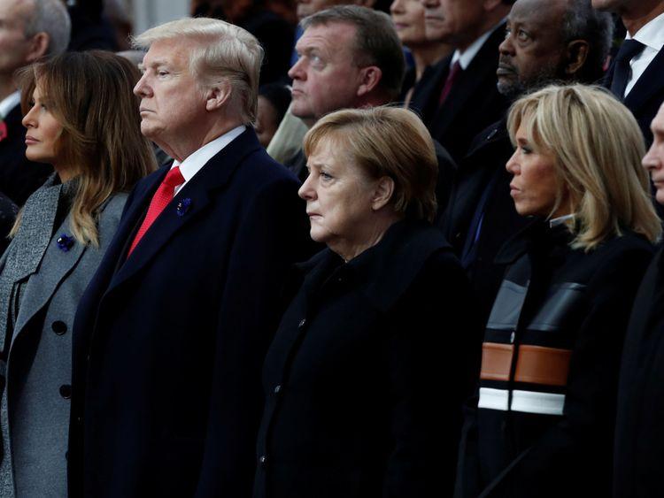 Donald Trump, Angela Merkel et Vladimir Poutine à la cérémonie à Paris